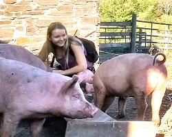 Student on farm