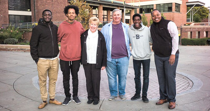Gwakuka, Tesfamariam, the Townes, Sadiq Ahmed '20, and Shongwe meet up outside Case Center. (Photo by Eric Jenks '08)