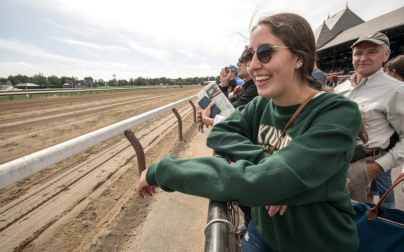 """Saratoga Race Course was a popular stop during the """"Saratoga Sampler"""" pre-orientation program as students experienced the nation's oldest thoroughbred race course firsthand"""