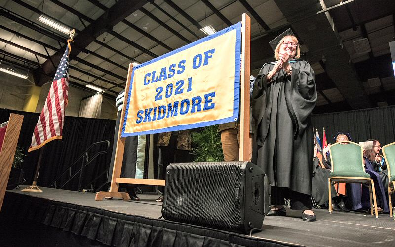 Mary Lou Bates, vice president and dean of admissions and financial aid, welcomes the Class of 2021 at Convocation