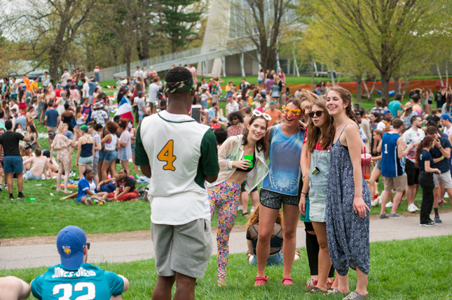 Students pose for a photo during the Fun Day festival on campus