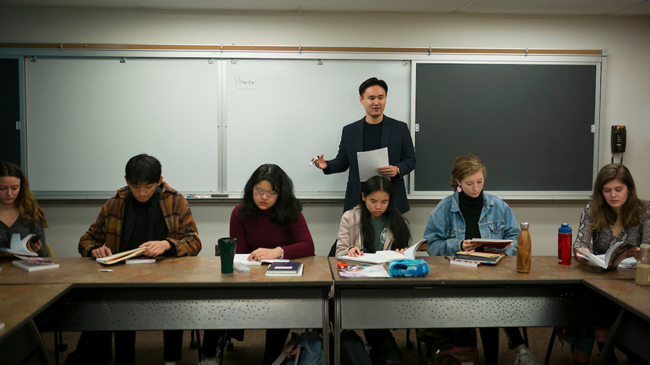 anthropology professor Joowon Park teaching his course on K-pop
