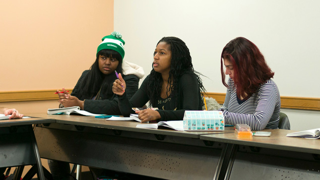 students in a classroom at Skidmore College