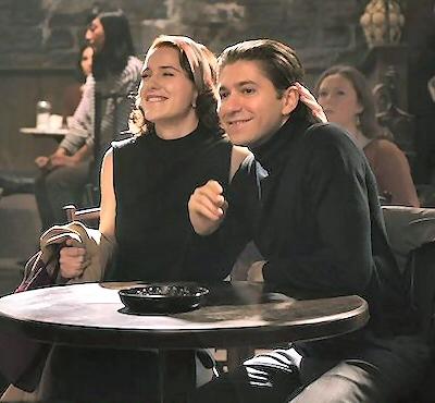 Rachel Brosnahan and Michael Zegen in a scene from The Marvelous Mrs. Maisel