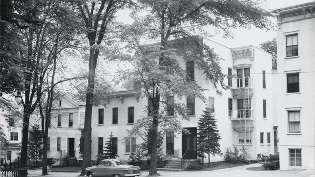 Historic image of spring street homes and Skidmore apartments