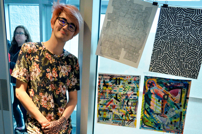 Shaw Lenox '20 is an abstract artist who uses on-the-spot creations to engage viewers.