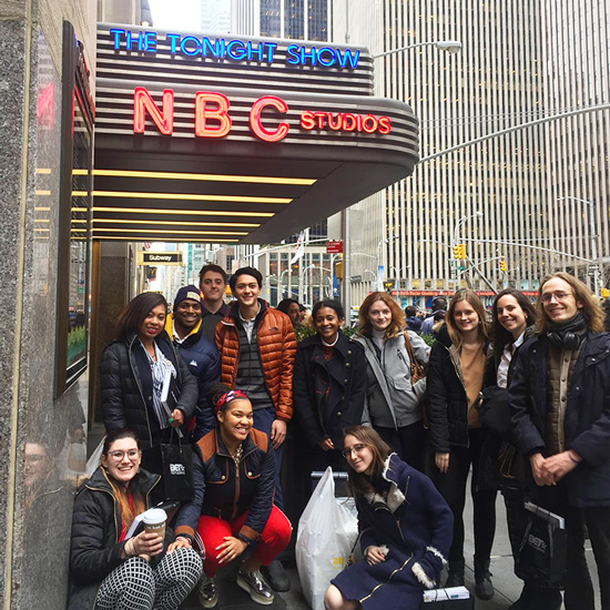 A+group+of+students+stand+outside+of+NBC+Studios+in+New+York+City
