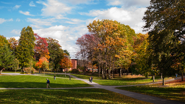 Skidmore College campus in the fall