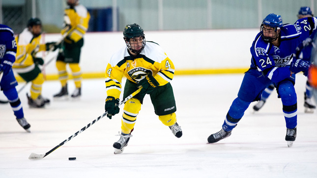 Skidmore hockey player during a game