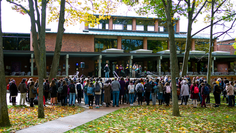 Student gather for a vigil on Skidmore campus