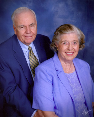Charlotte Lamson Clarke '53 pictured with husband Tom.