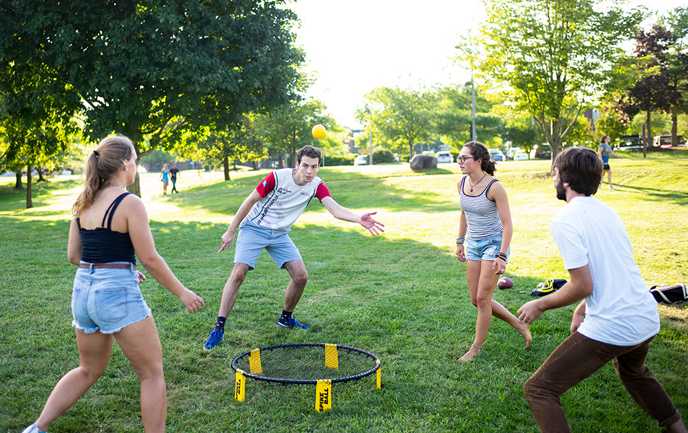 student play games at Skidmore College Founder's Day Barbeque
