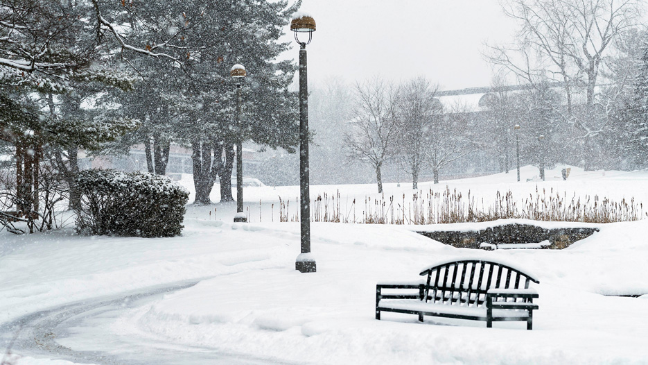 Snow falling on Skidmore College's campus