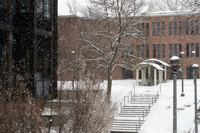 Snow falling on Skidmore campus