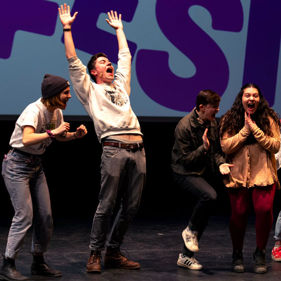 Skidmore+College+students+perform+improv+on+stage