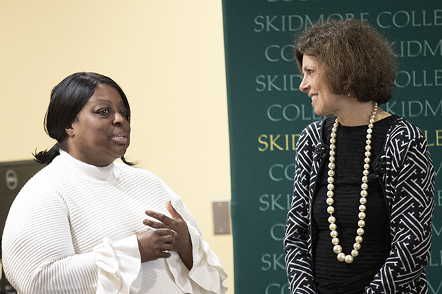 Nadine Strossen with Cerri A. Banks, dean of students and vice president for student affairs