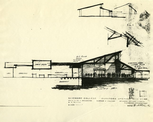 Dining hall architectural drawing