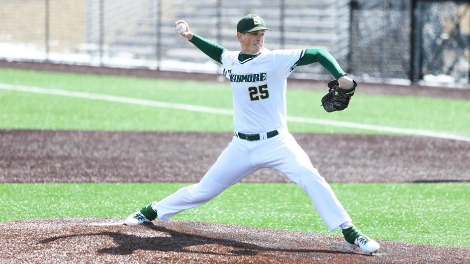 Jay Gamboa pitches during a Skidmore College baseball game