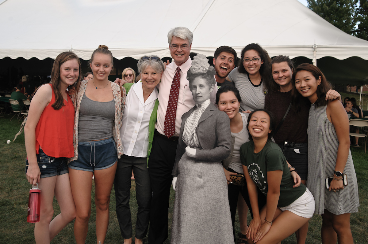 Marie and Phil Glotzbach with students at Founder's Day
