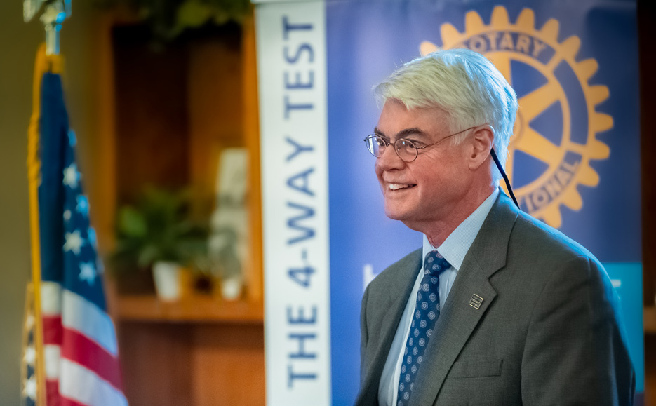 President Glotzbach at a Rotary Club meeting
