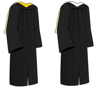 Illustration of black commencement gowns with yellow and white hoods