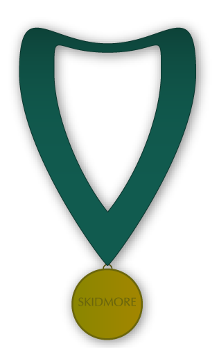 Illustration of a gold medallion on a green ribbon