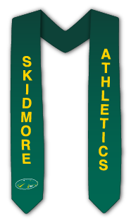 Sash that's green with yellow lettering that reads Skidmore Athletics