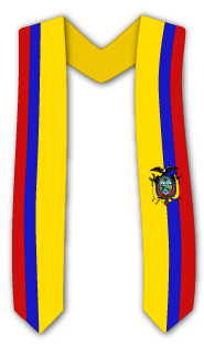 Commencement sash with an international flag pattern