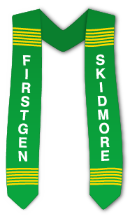 Illustration of a Commencement stole with yellow and green weave