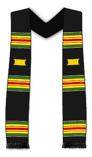 Sash with the traditional colors of Kente, red, yellow, gold and black