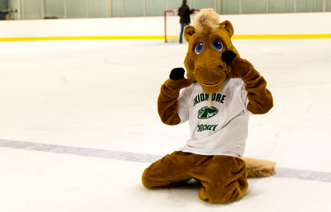 Skidmore mascot poses on the ice rink during a hockey game
