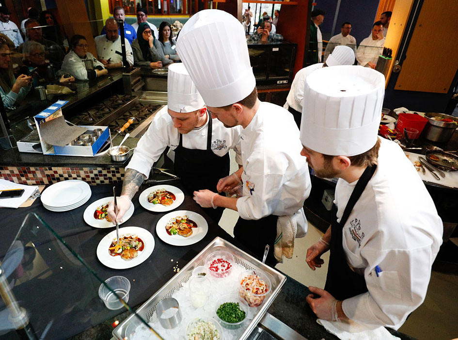 Members of Skidmore's team at an American Culinary Federation-sanctioned cooking competition