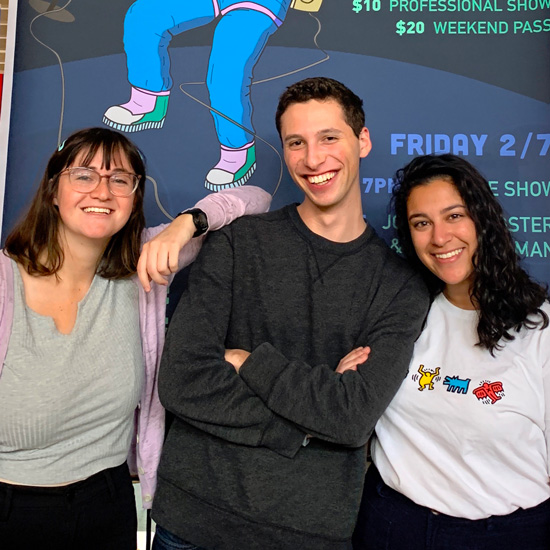 Three student producers of the 2020 National College Comedy Festival