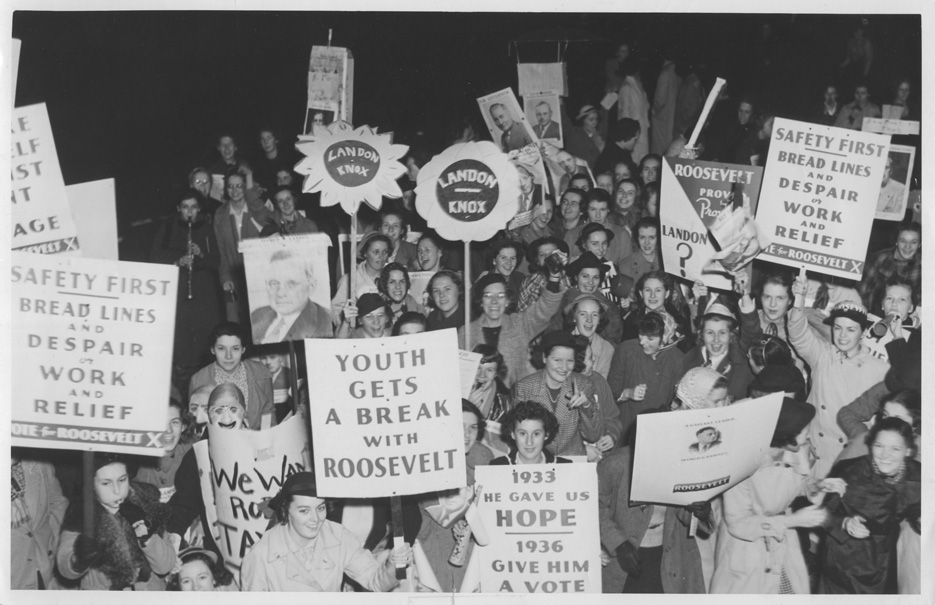 "Students support Democratic candidate Franklin D. Roosevelt and Republican candidate Alf Landon at a 1936 presidential election rally on campus. The photo is part of the virtual exhibition ""We've Only Just Begun: 100 Years of Skidmore Women in Politics."""