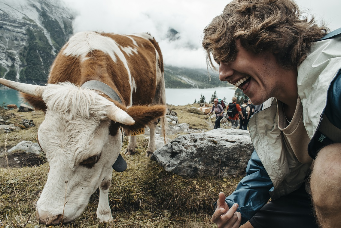 Nate Smail '20 laughts while watching a cow in Switzerland