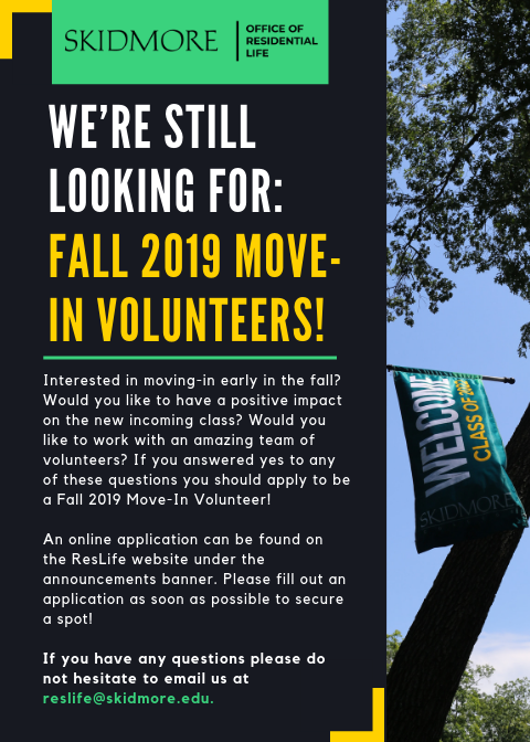 Move In Volunteers Wanted