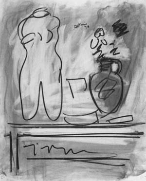 """Robert De Niro, Sr., """"Torso on Table,"""" undated, charcoal on paper, 24-1/4 x 19-1/2 inches, Salander-O'Reilly Galleries, New York, NY"""