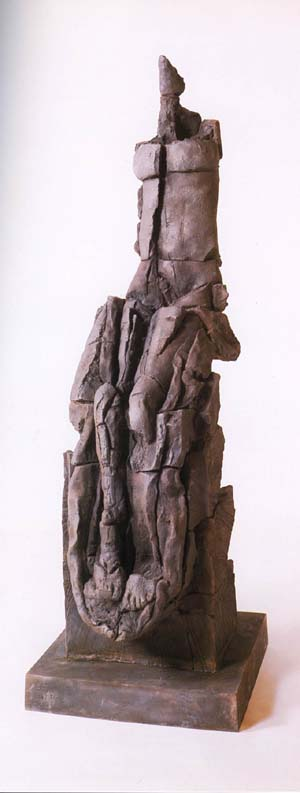 """Stephen De Staebler, """"Seated Woman Bisected,"""" 1981, bronze, 71-1/2 x 23 x 26 inches, Franklin Parrasch Gallery, New York, NY"""