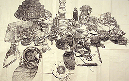 Dawn Clements, On the Table, 2004, Sumi ink on paper, 31.75 x 50 inches, courtesy of Pierogi