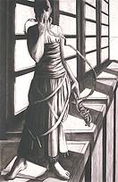 Deborah Morris, Temperance, 2003, charcoal, 26 x 40 inches