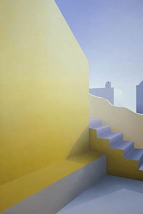 Elena Borstein ('68), Yellow Courtyard, 2003, acrylic on canvas, 60 x 40 inches