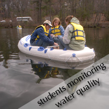 Students monitoring water quality on Loughberry Lake in ES 105