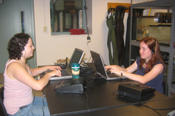 Leah Wohl-Pollak '08 and Molly Bergen '07 transcribing interviews