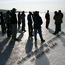 Students discussiong recreation on Saratoga Lake